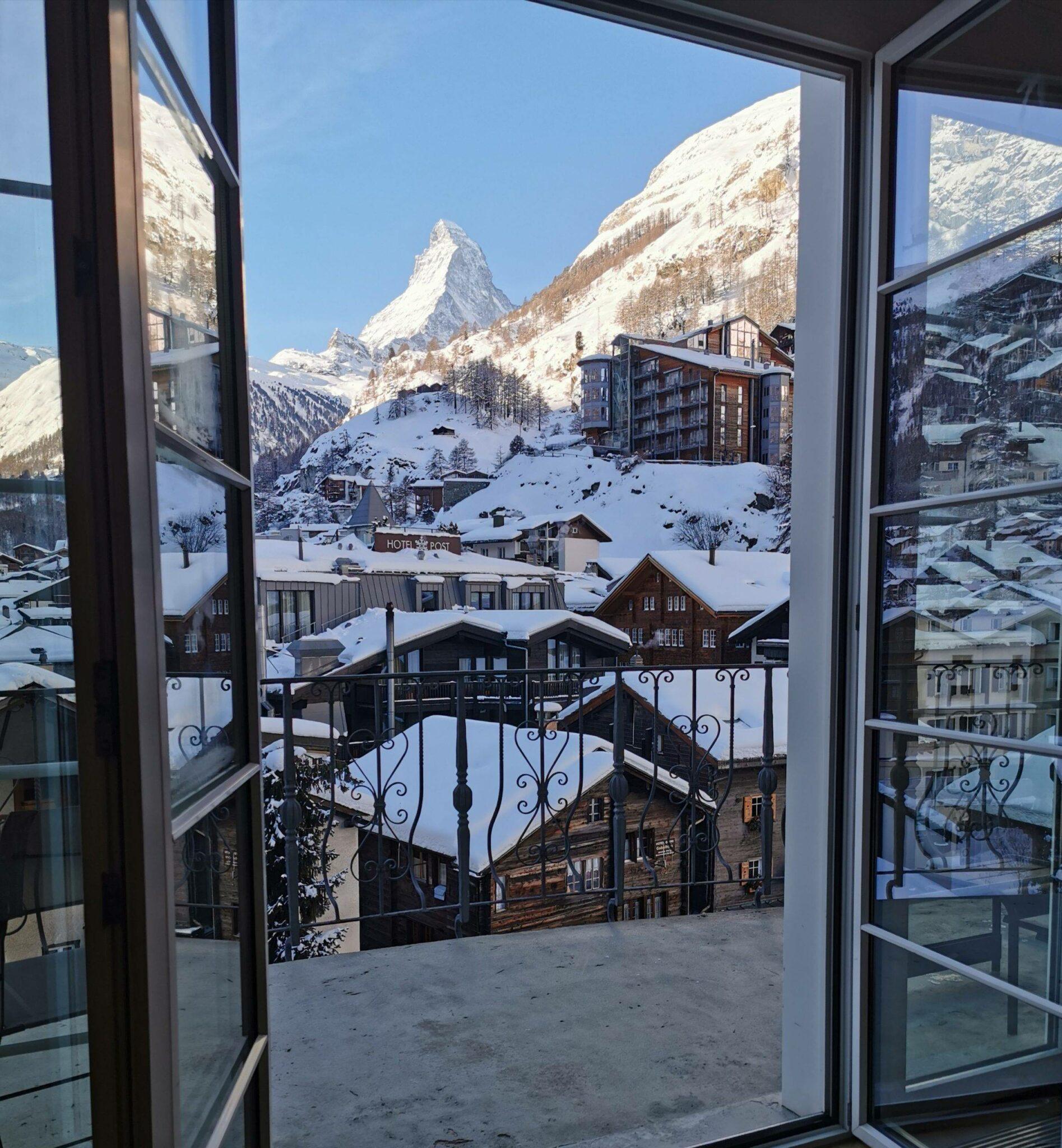 Matterhorn mountain view from Mont Cervin Palace hotel in Zermatt