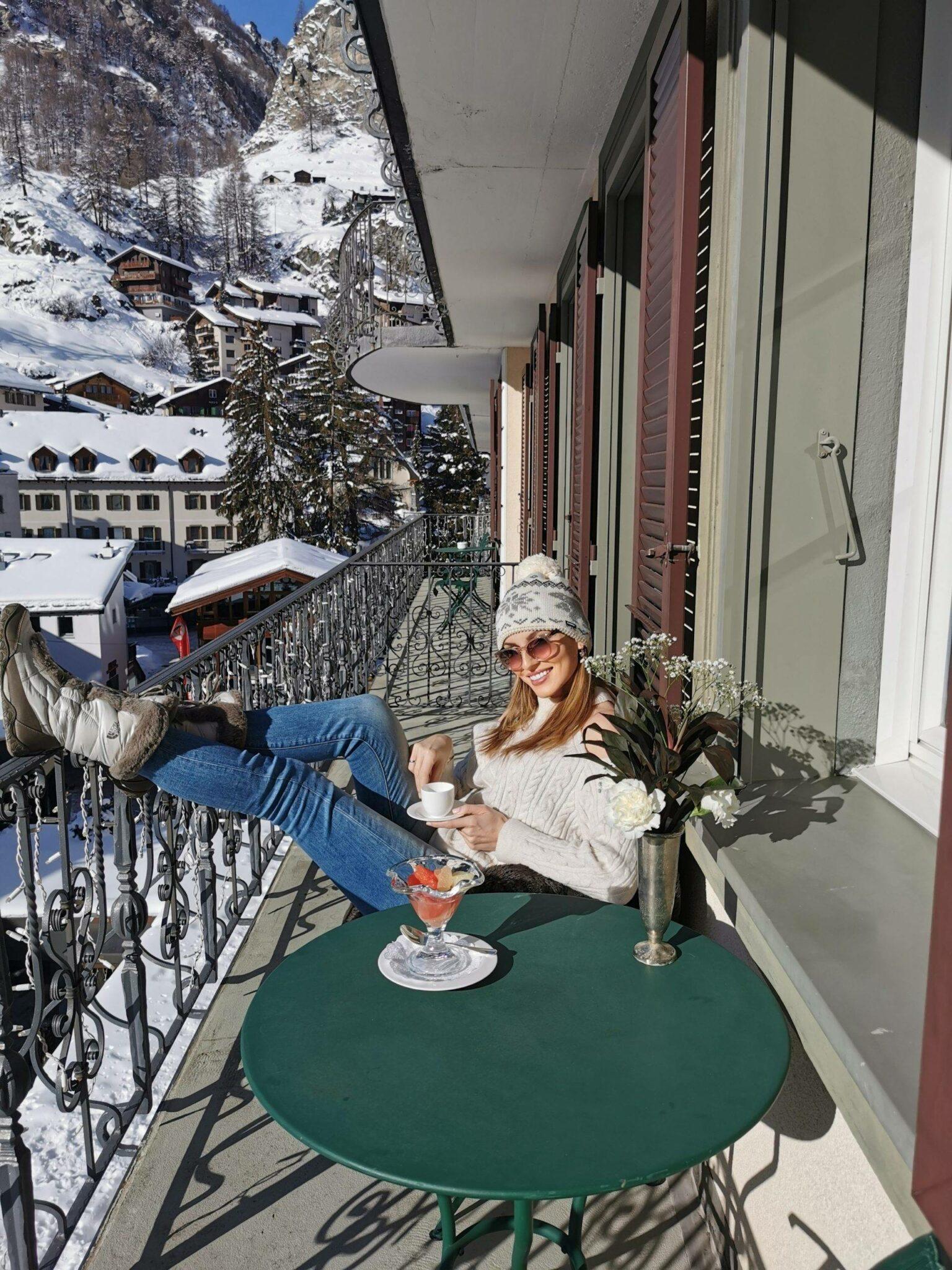 BellaZofia on a balcony in Zermatt hotel