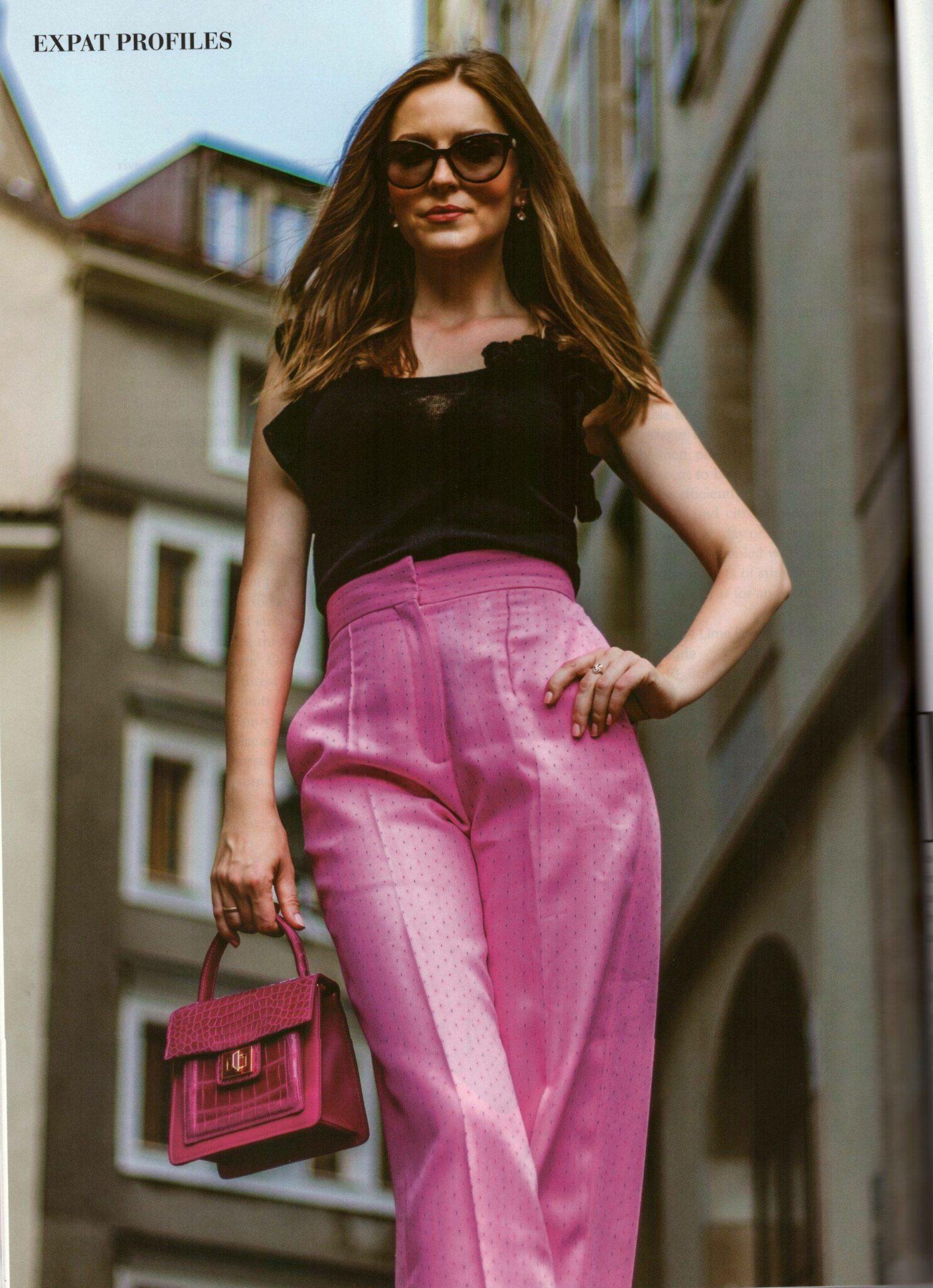 Press, Izabela Bella Zofia in Geneva, Street Style. Wearing  pink trousers from Sandro Paris