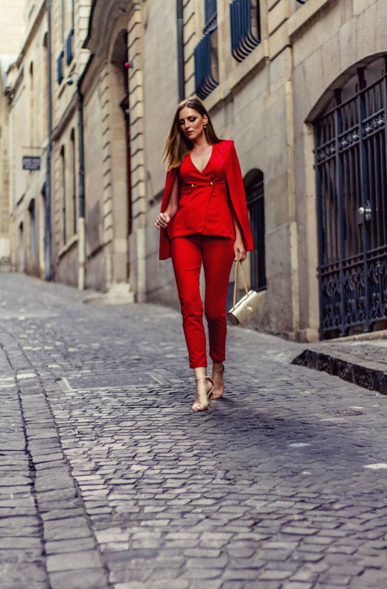 Izabela Bella Zofia in Geneva, Street Style. Wearing red suit