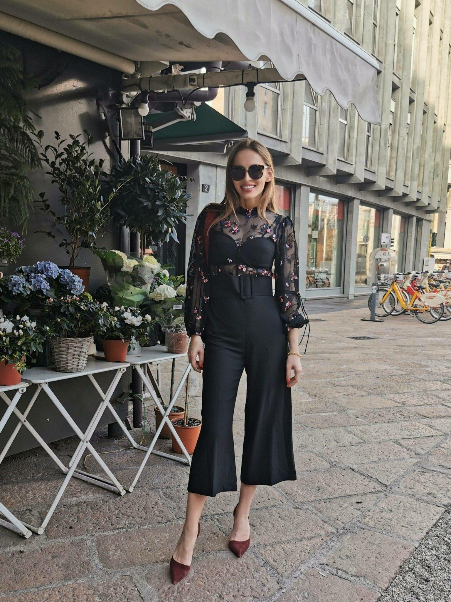 Bela_zofia wearing Three Floor jumpsuit in Milan during Milan Fashion week