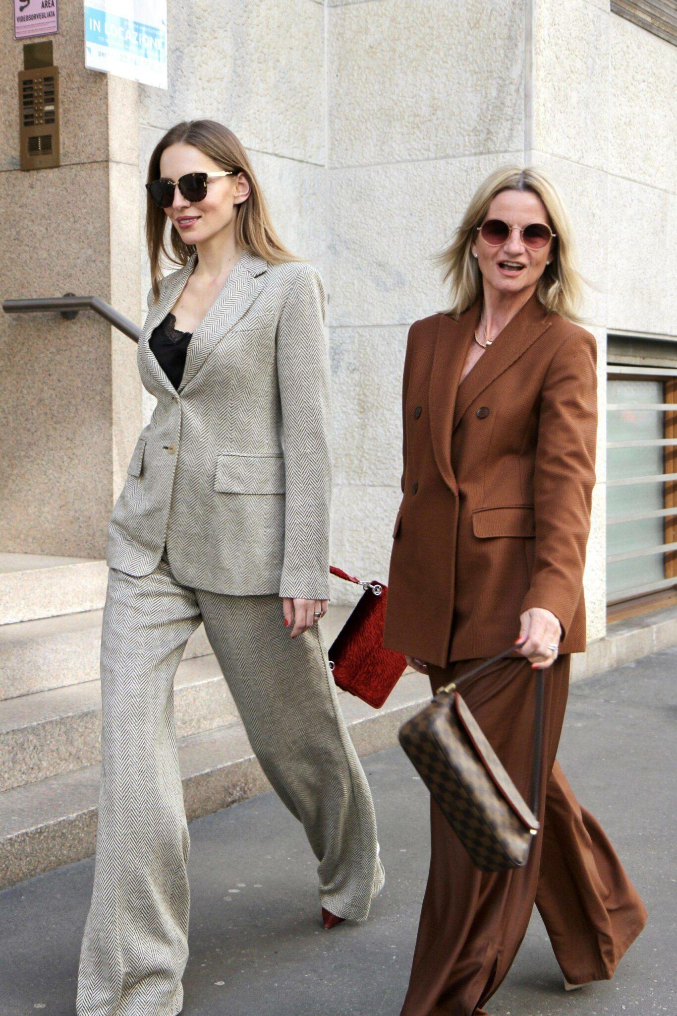 Bellazofia and Funkyforty wearing MaxMara clothes in Milan,