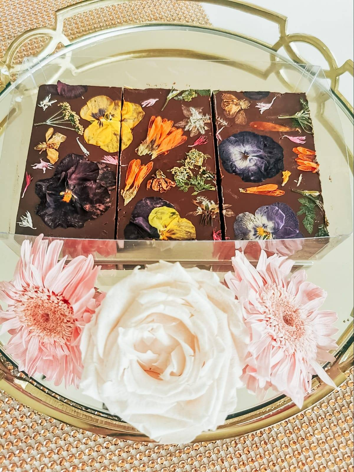 Mother's Day. Floral Brownie with flowers