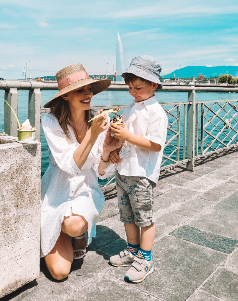 Mother and son in Geneva eating Llaollao
